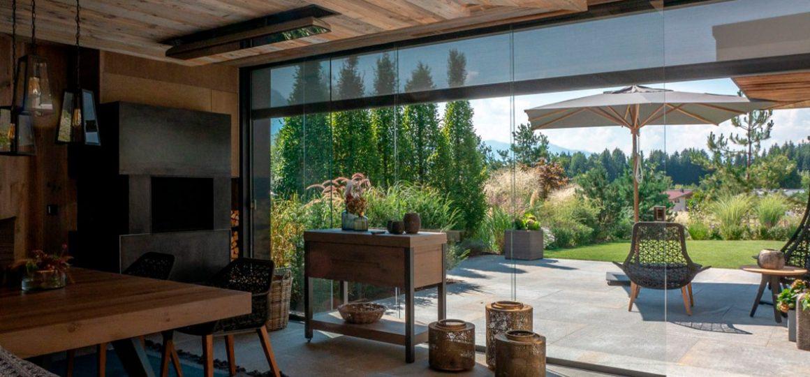 HEATSCOPE LIFT plus VISION Heizstrahler, Wintergarten-Installation in Tirol, Oesterreich
