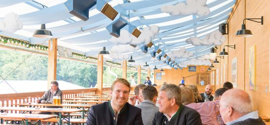 HEATSCOPE SPOT, Heizstrahler-Installation im Hacker Pschorr Festzelt, Oktoberfest Muenchen
