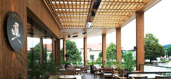HEATSCOPE SPOT, Heizstrahler-Installation im Hotel Gmachl, Bergheim bei Salzburg