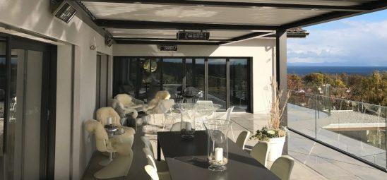 HEATSCOPE SPOT, Heizstrahler-Installation, Pergola am Genfer See