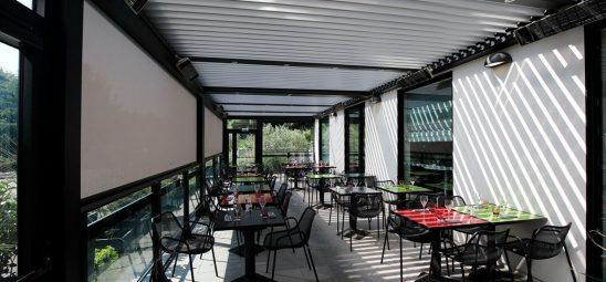 HEATSCOPE SPOT, Heizstrahler-Installation, Pergola auf einer Restaurant-Terrasse, Lyon