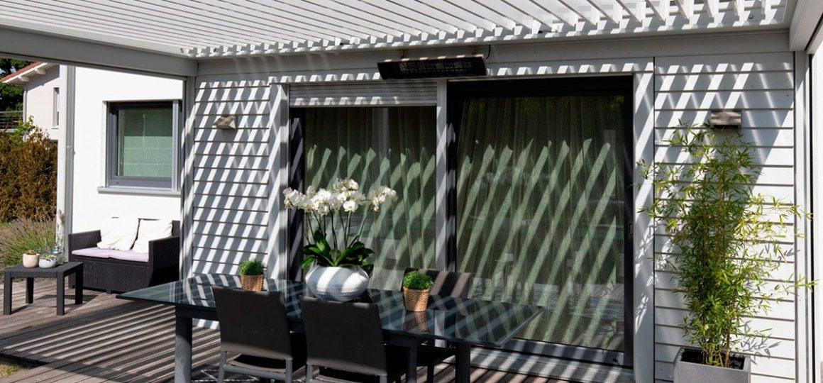 HEATSCOPE SPOT, Heizstrahler-Installation, Pergola, Suedfrankfeich