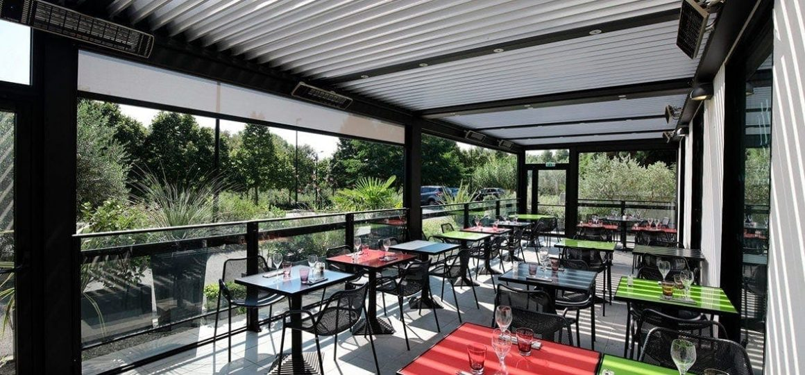 HEATSCOPE Spot Power-Heizstrahler, Restaurant-Pergola-Installation, Frankreich