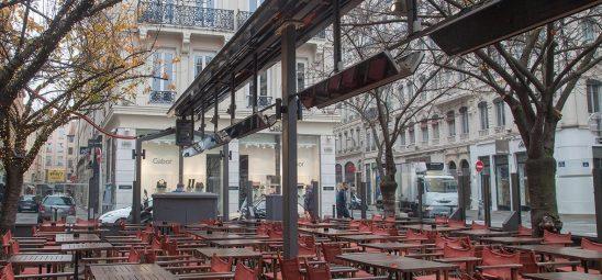 HEATSCOPE VISION, Heizstrahler-Installation, Herbst-Café, Paris