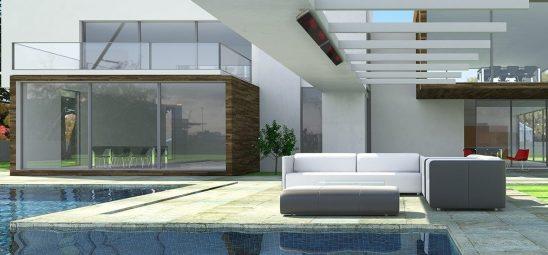 HEATSCOPE VISION, Heizstrahler-Installation am Pool, Menorca