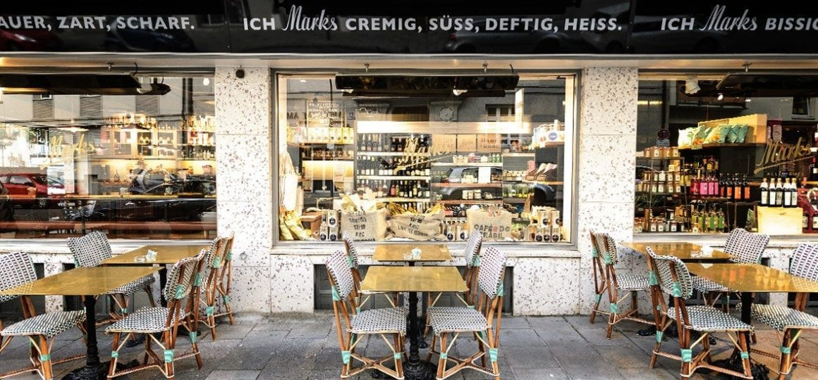 HEATSCOPE Vision: dezenter Ambiente-Heizstrahler im Cafe Marks, Muenchen